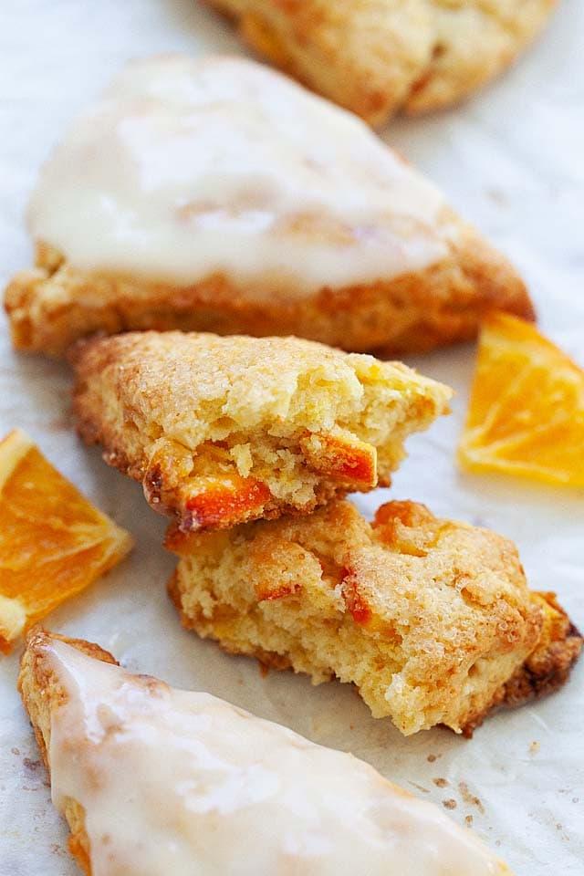 Scone recipe with orange scone glaze.