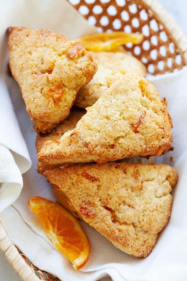 Orange scone recipe with butter, flour, dried orange and sugar.