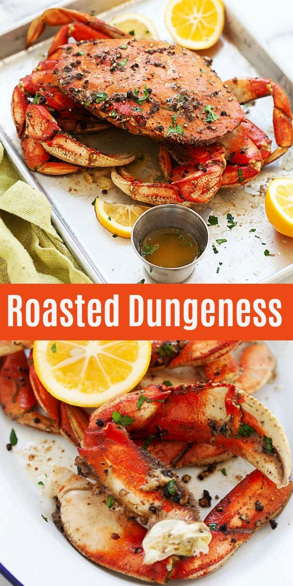 Dungeness Crab - learn all about Dungeness crab, its season, price, recipes, how to eat the crab and a delicious roasted Dungeness crab recipe with butter and black pepper.