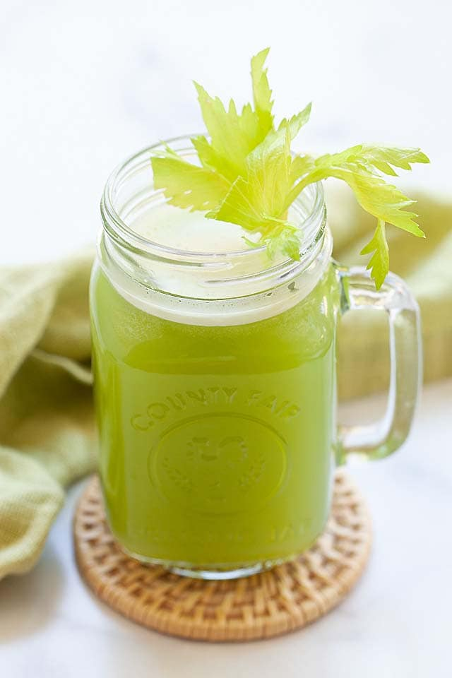 Celery juice in a glass.