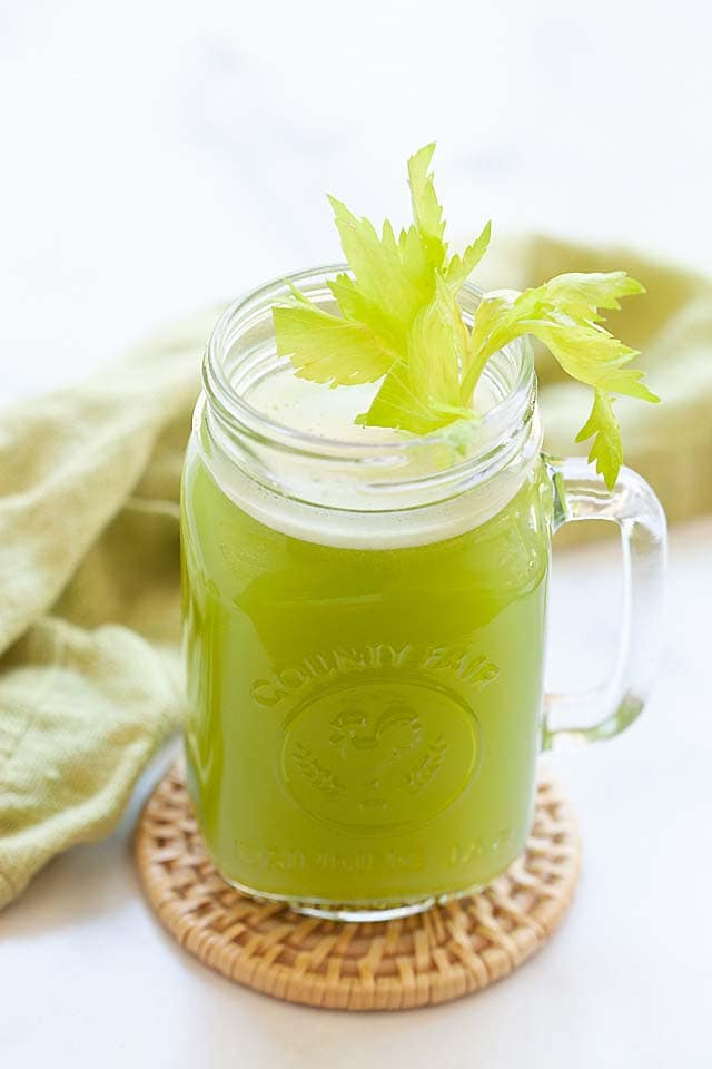 Celery juice recipe with fresh celery and water.