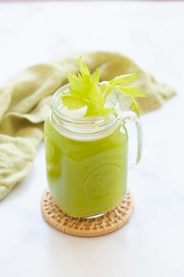 Celery juice benefits include fiber and vitamin C.