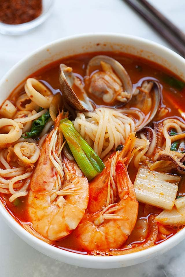 Korea spicy seafood noodle soup