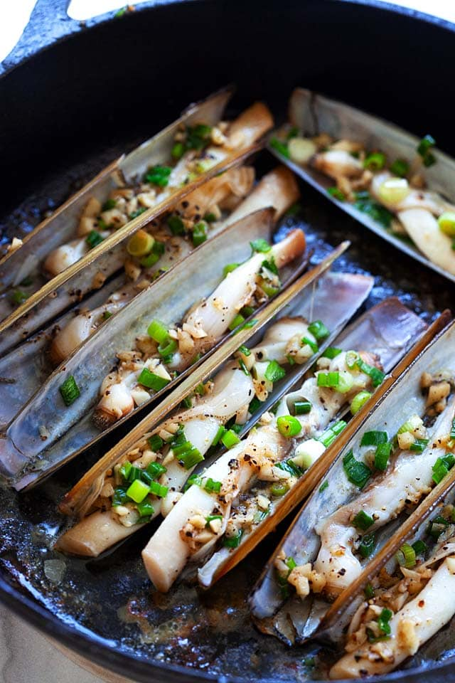 Razor clam, ready to serve.