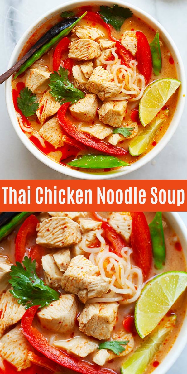 Thai Chicken Noodle Soup - authentic and easy Thai coconut chicken soup broth with noodles and vegetables. This recipe is so easy to make at home and tastes just like restaurants.