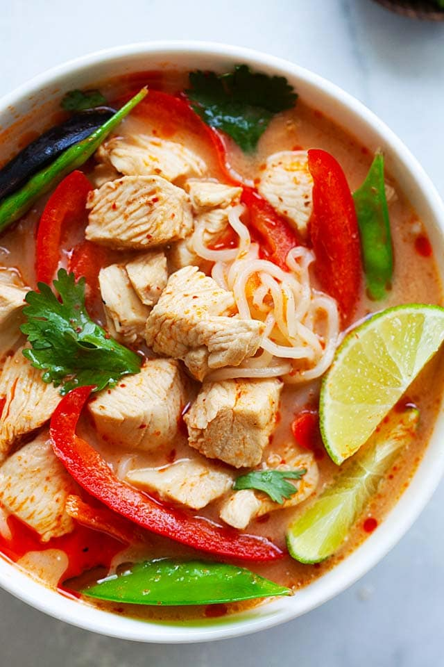 Thai chicken noodles soup recipe made in a bowl, ready to serve.