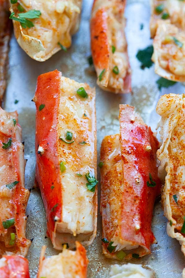 King crab legs, baked with butter.