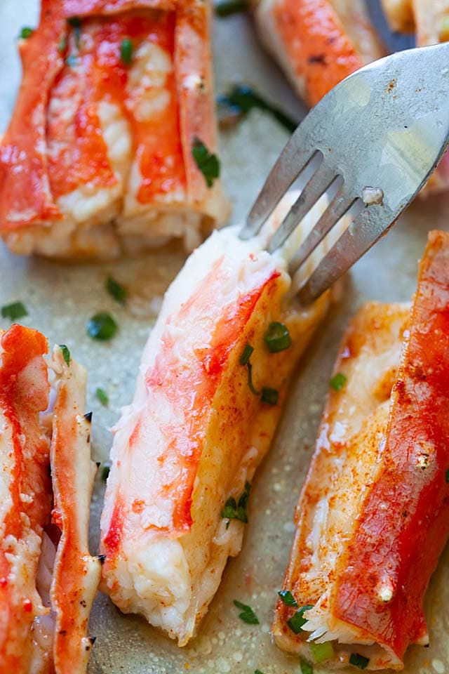 Close up picture of king crab, with sweet and tender crab meat inside the crab legs.