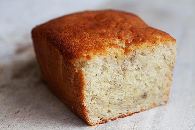 Banana cake using a mini loaf pan.
