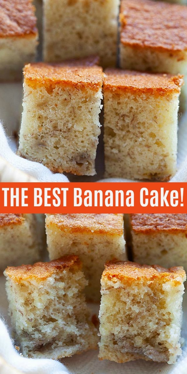 Banana Cake - the best and moist banana cake from scratch. Easy and healthy banana cake recipe without baking powder and calls for only five (5) ingredients.
