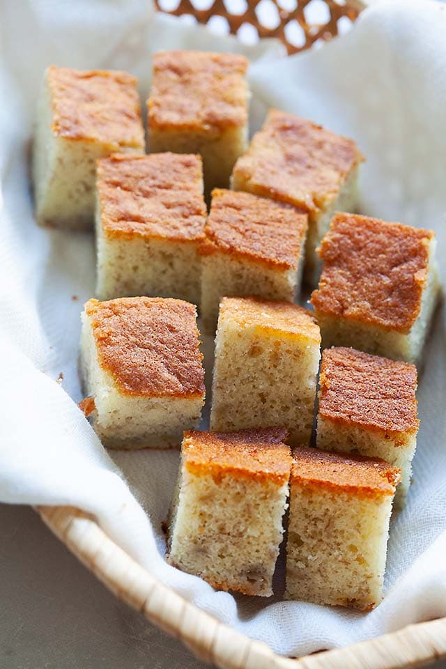 Banana cake, cut into pieces.
