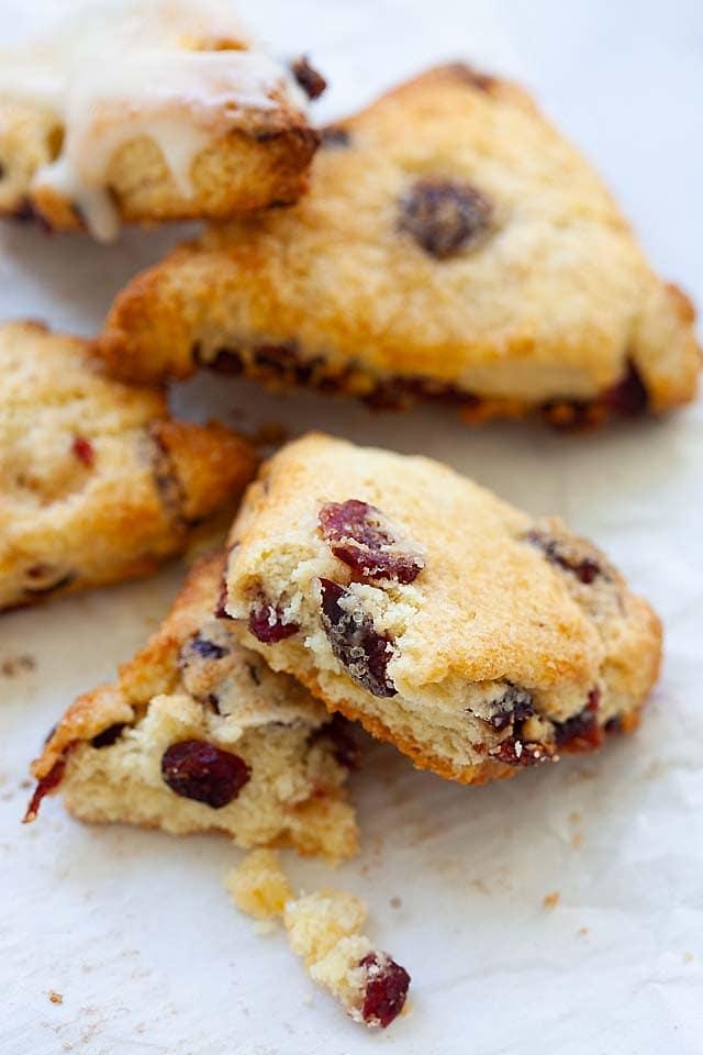 Moist cranberry scones.