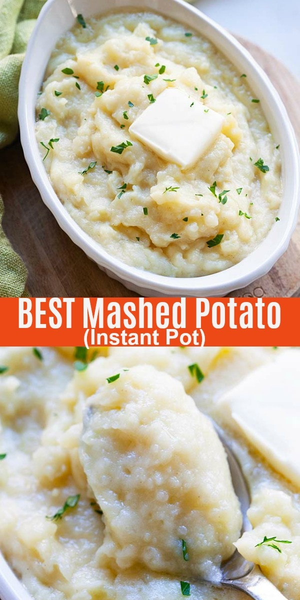 Instant Pot Mashed Potatoes - the best recipe for mashed potatoes in Instant Pot. Creamy, buttery, silky smooth mashed potatoes that takes only 10 mins active time to make.