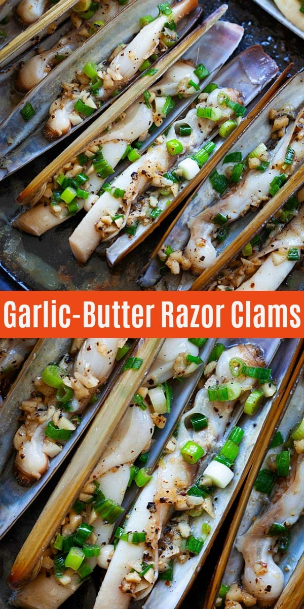 Razor Clam - garlic butter razor clams is one of the best razor clam recipes. Learn how to clean razor clam and cooking with this easy recipe.