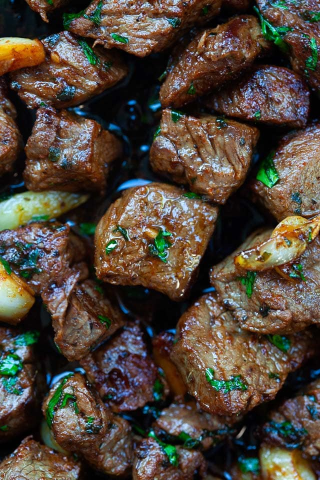 Steak bites recipe with marinade, garlic and butter.