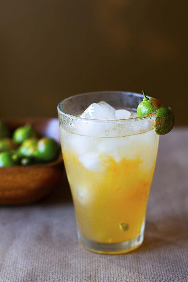 Calamansi juice in a glass, ready to serve.
