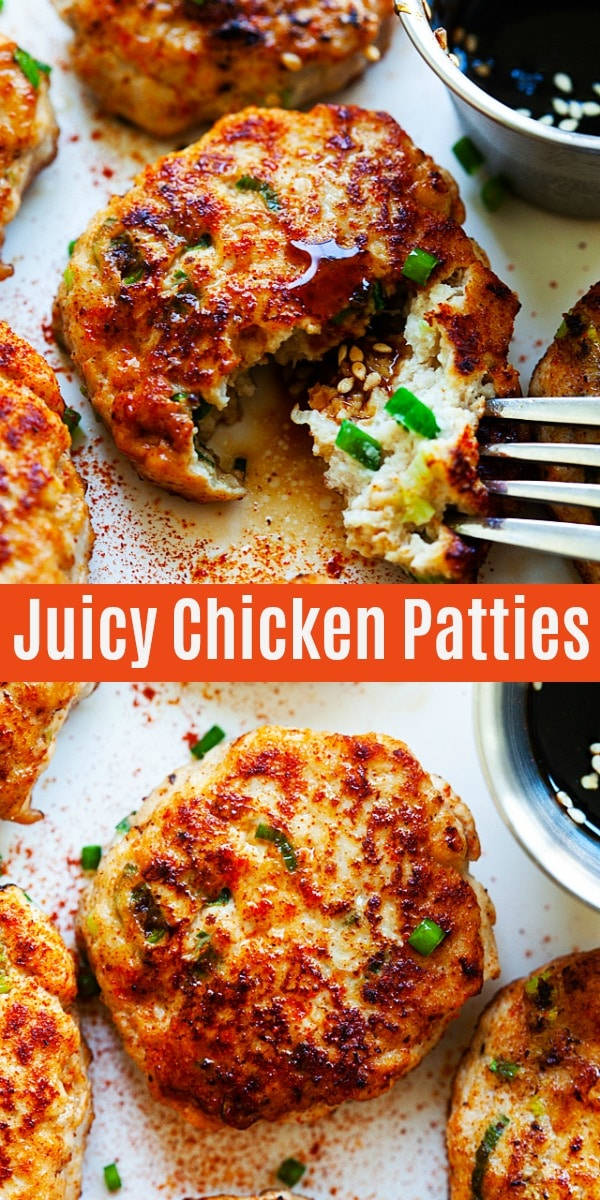 Chicken Patties - juicy chicken patty recipe with teriyaki sauce. One of the best ground chicken recipes ever! So good and even the pickiest eaters love them.