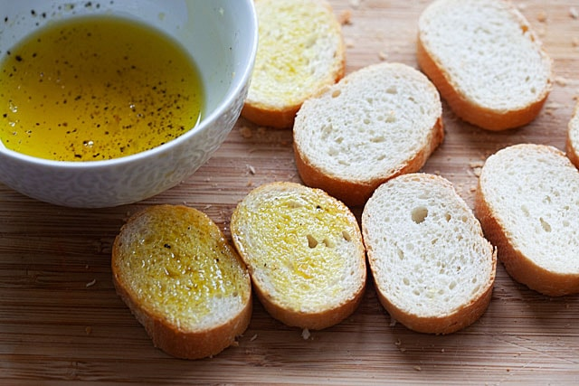 Crostini bread, sliced into pieces and brushed with olive oil.