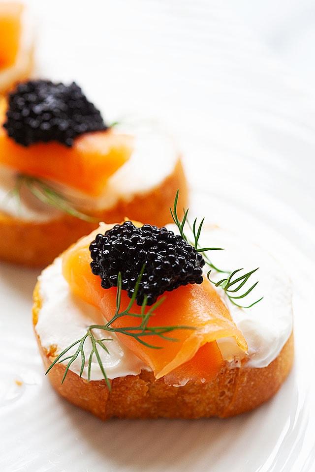 Smoked salmon crostini, ready to serve.