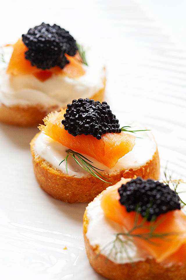 Crostini canapes with crostini bread and toppings
