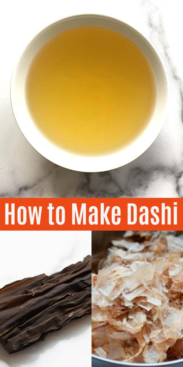 Dashi - easy dashi recipe with 3 ingredients, water, kombu and bonito flakes. Authentic dashi broth and stock to make a variety of Japanese recipes.