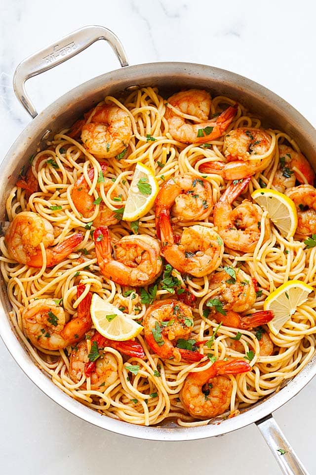 One of the best shrimp pasta recipes ever, easy, healthy, spicy and tasty.