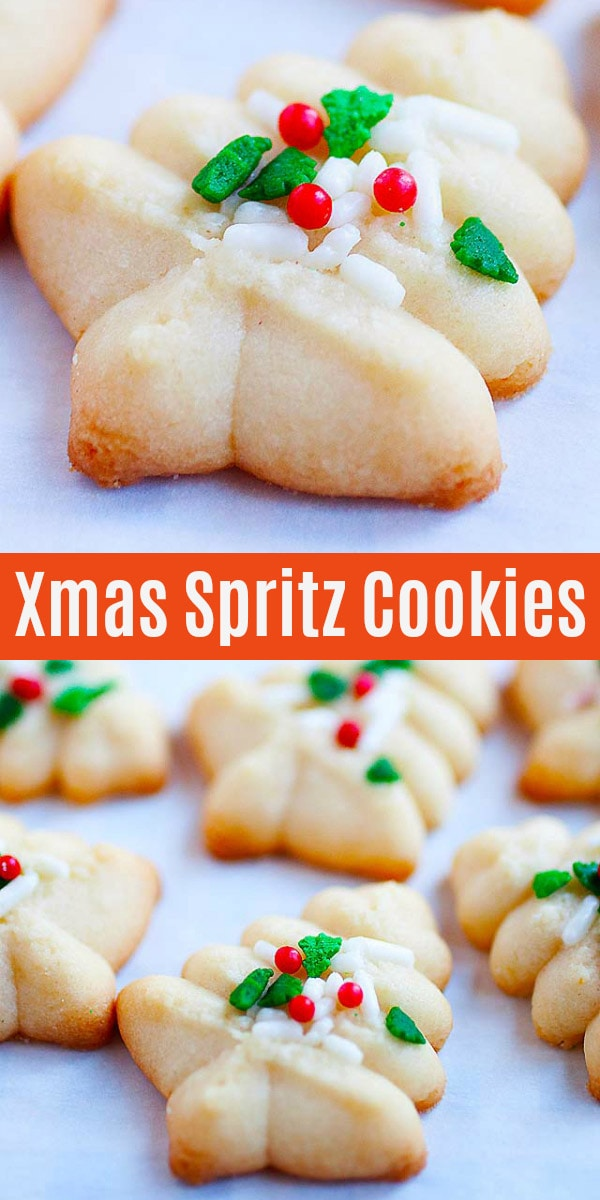 Spritz Cookies– the BEST, buttery, melt-in-your-mouth and crumbliest Christmas Spritz cookies ever! Super easy recipe that anyone can bake this holiday season.