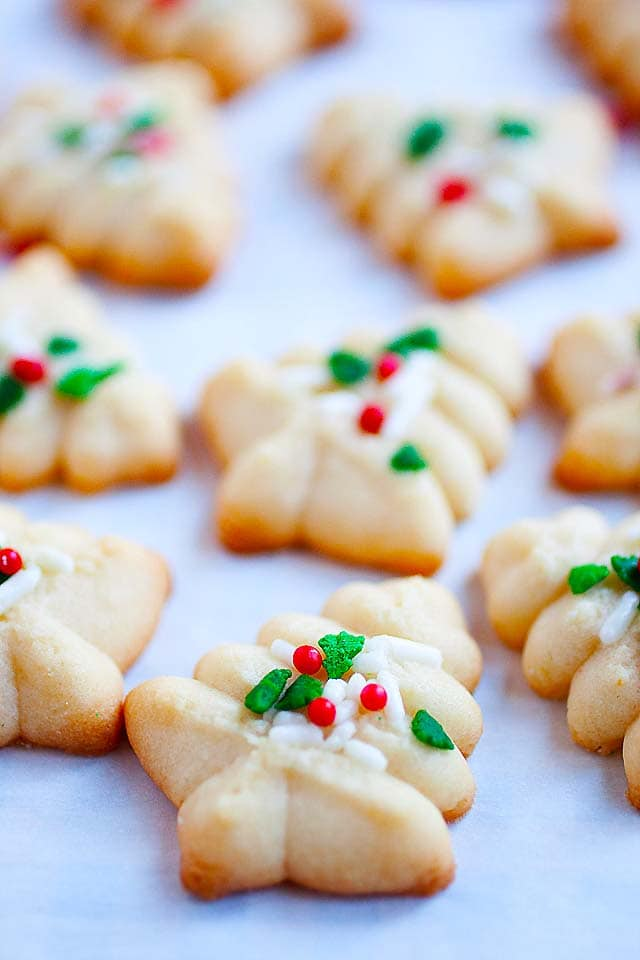 Best spritz cookies recipe made with cookie press.