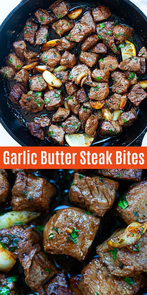 Steak Bites - garlic butter steak bites with spice marinade. The beef bites are so juicy, tender, and takes only 10 minutes to make. Pair well with potatoes for dinner tonight!