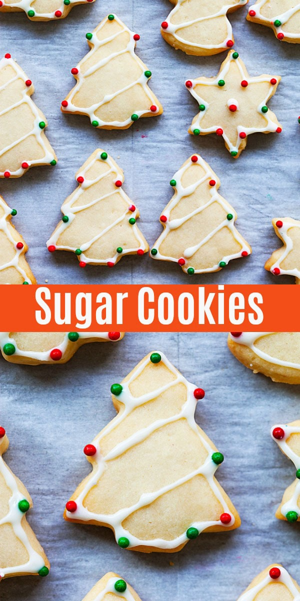 Sugar Cookies - easy and the best sugar cookie recipe. These homemade Christmas sugar cookies are cut out in festive shapes and decorated with icing.