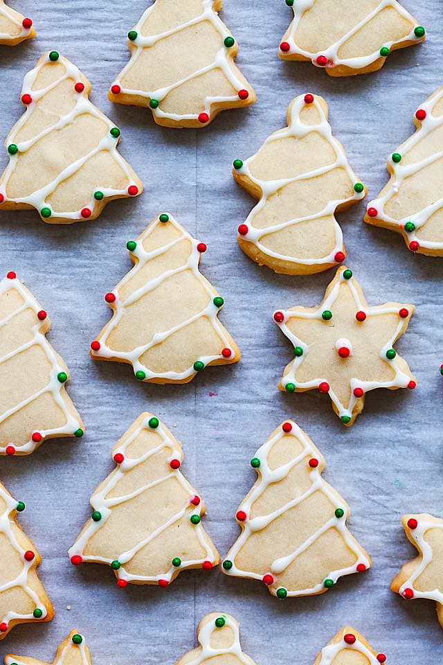 Sugar cookie recipe made of butter, sugar, all-purpose flour, egg, milk and salt.