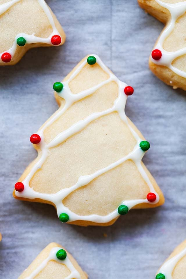 Decorated sugar cookies with sugar cookie frosting and icing.