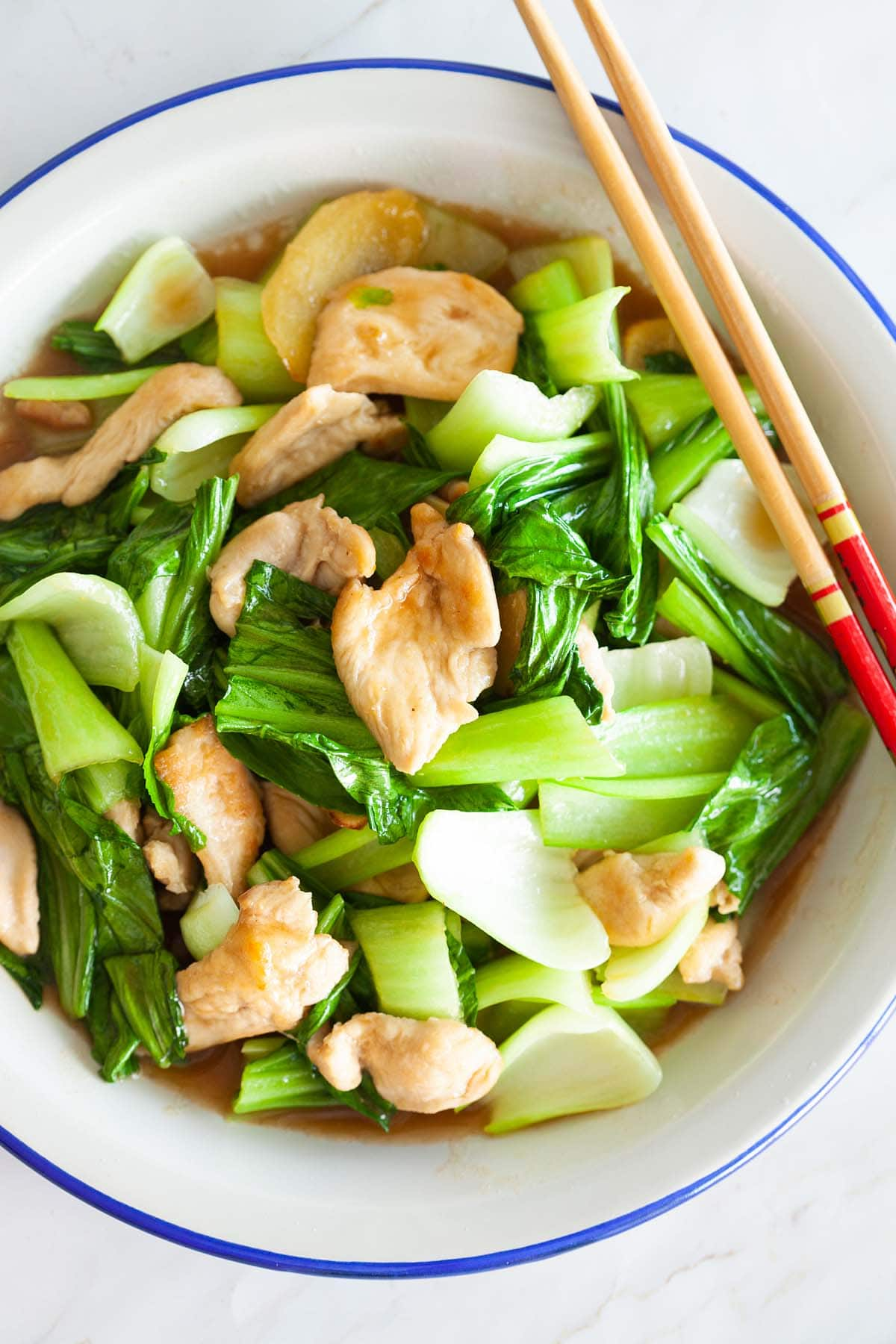 Bok choy chicken in plate.