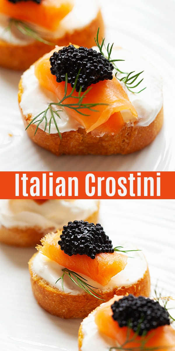 Easy and the best Crostini recipe with sour cream, smoked salmon, caviar and dill. Slice and toast Italian bread and assemble with Crostini toppings for the best appetizers.