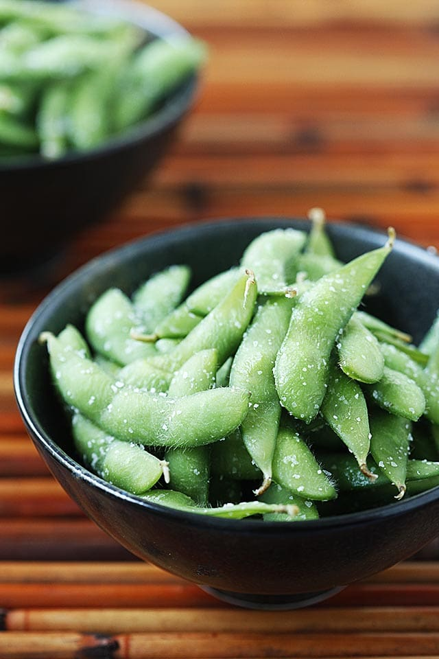 Edamame in a bowl.