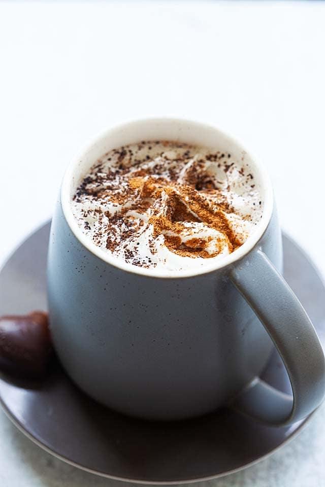 Hot chocolate at home just like Starbucks hot chocolate.
