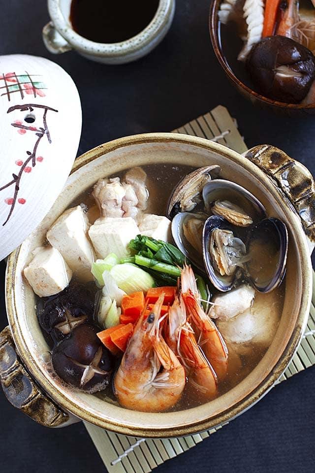 Nabe hot pot or yosenabe in a Japanese clay nabe pot.