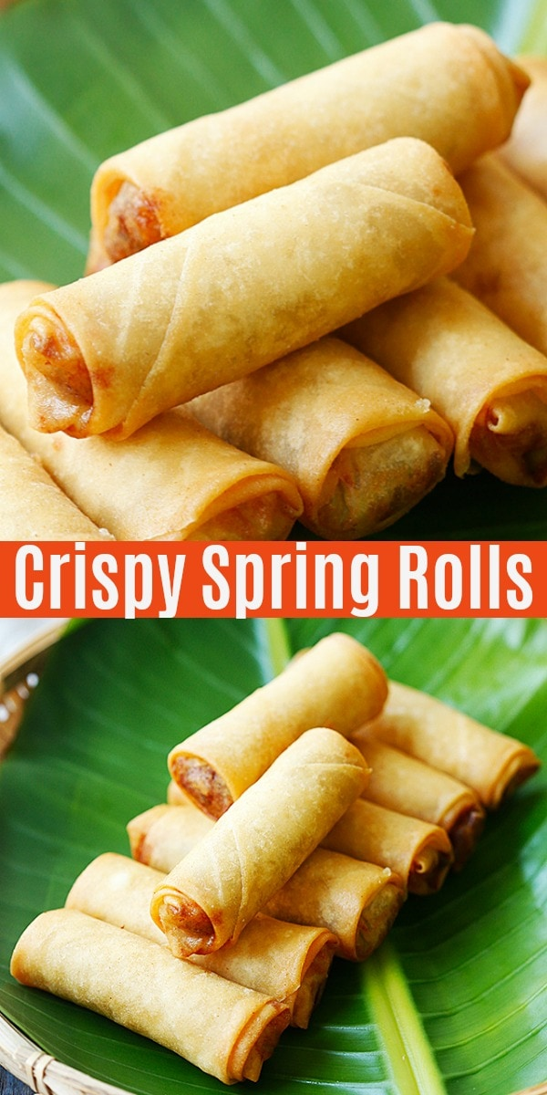 The crispiest and best spring rolls filled with vegetables and deep-fried to golden perfection. This spring roll recipe is easy, authentic and 100% homemade.