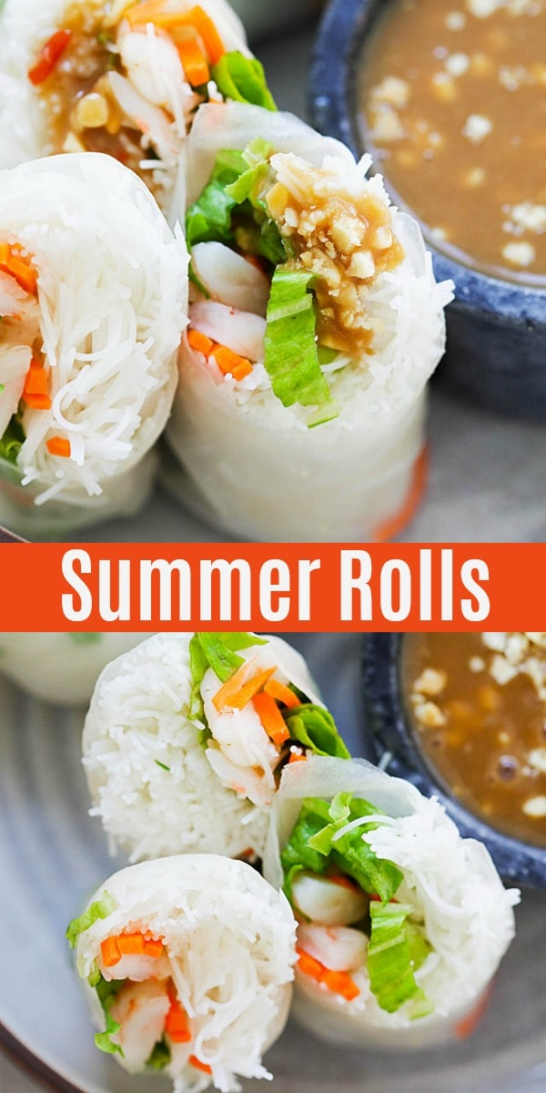 Summer Rolls recipe made of rice noodles, lettuce, carrots, shrimp and served with peanut sauce. This Vietnamese appetizer is so healthy and delicious. Learn how to assemble the rolls with easy step-by-step picture guide.