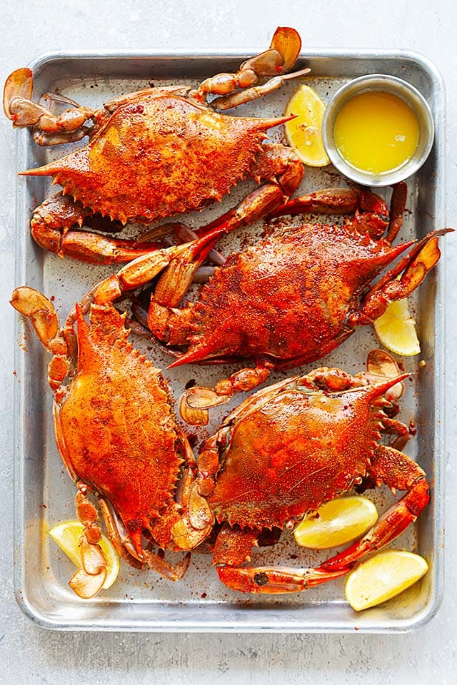 Blue crabs on a serving tray.