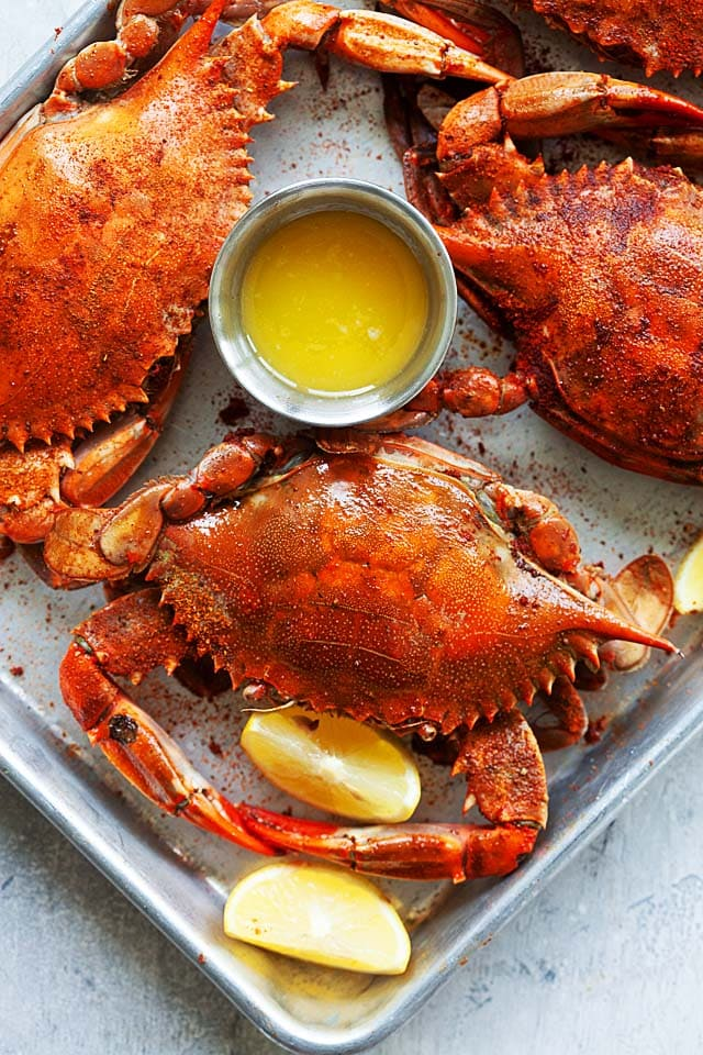 Maryland blue crab steamed with Old Bay seasoning.