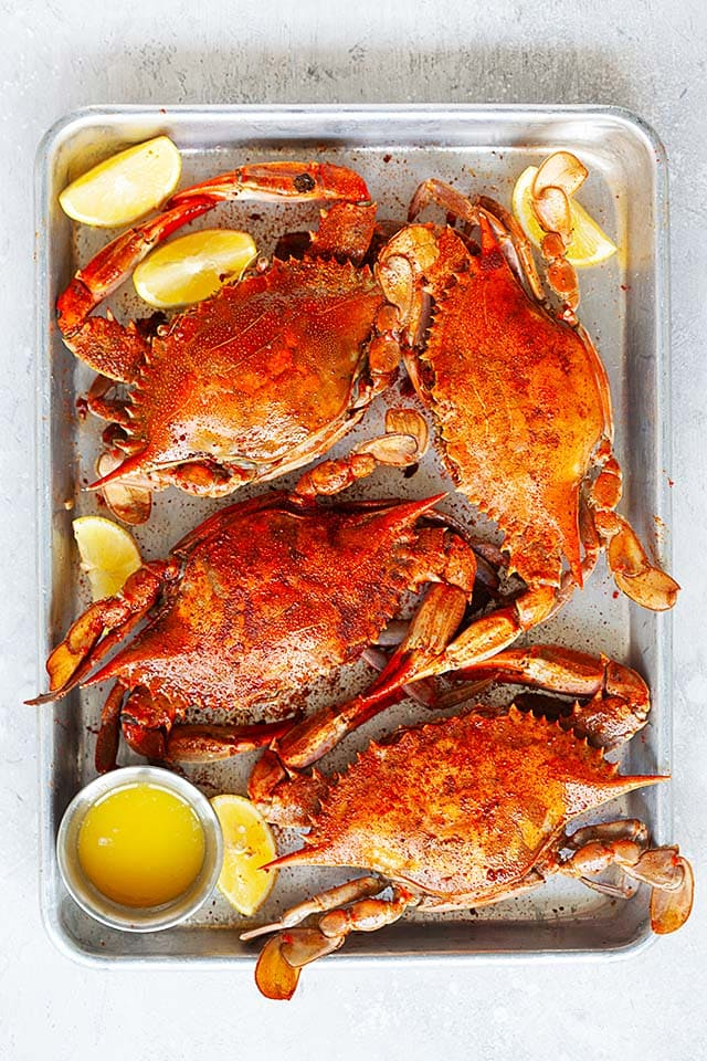 Steamed blue crab served with melted butter.