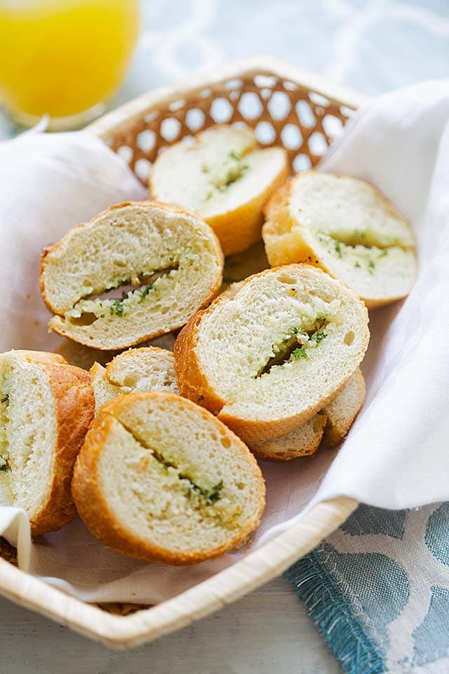 Garlic bread recipe with garlic bread spread and French baguette.