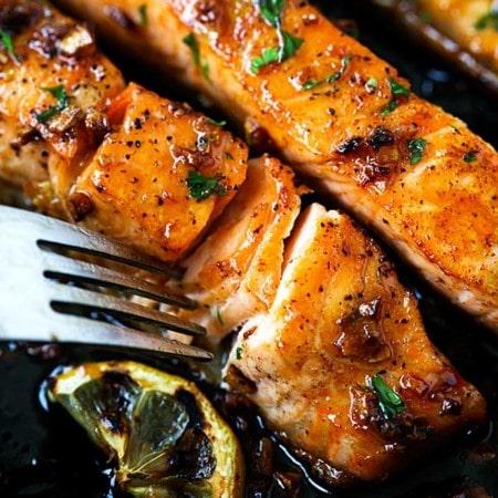Salmon recipes with honey garlic salmon.
