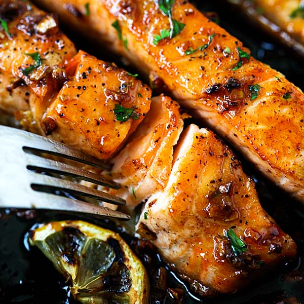 Salmon with honey garlic sauce.