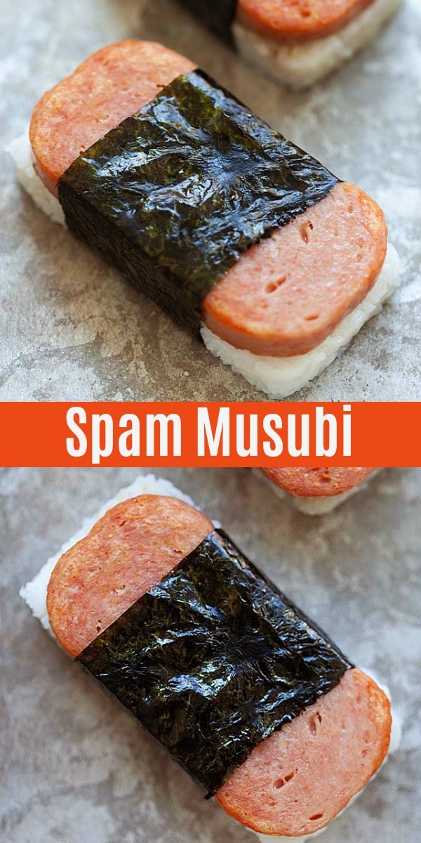 Hawaiian spam musubi is the best! Ingredients are steamed white rice, musubi sauce, Spam and toasted seaweed. Musubi is easy to make at home!