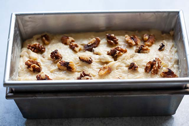 Banana nut bread batter in a loaf pan.