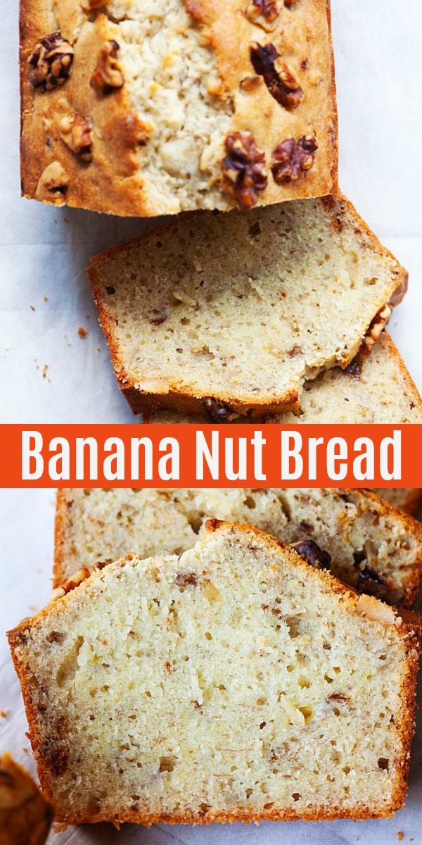 Easy, super moist and the best ever banana nut bread with walnuts. This banana nut bread recipe is homemade, simple and healthy!