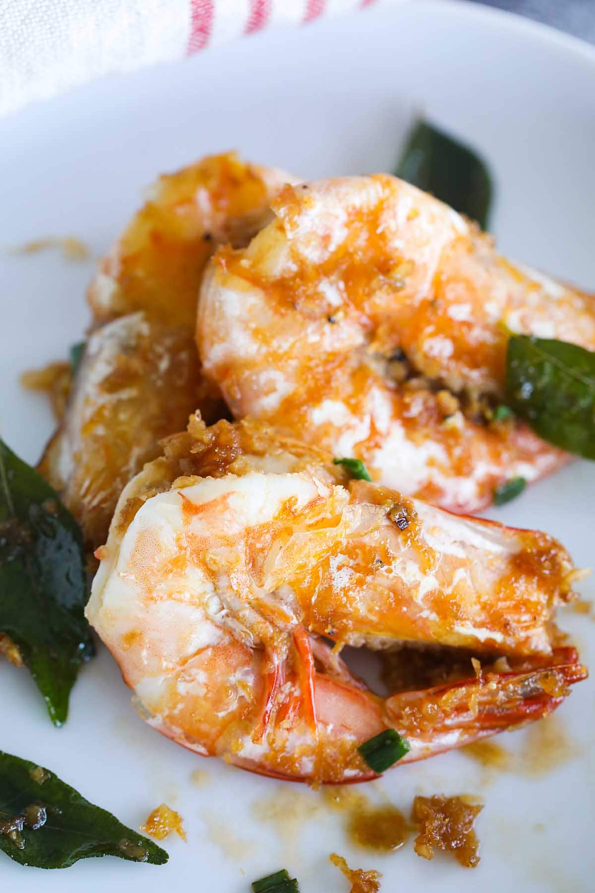 Authentic butter prawn with green curry leaves.