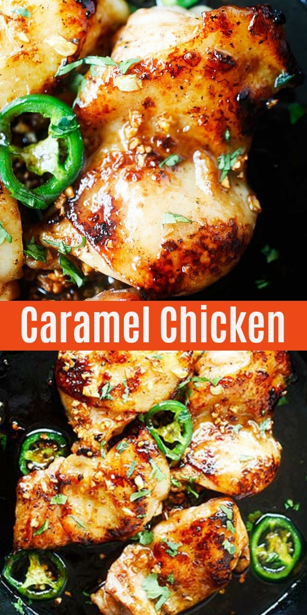Vietnamese-style caramel chicken on skillet with sticky, sweet, savory, and mildly spicy caramel sauce. This chicken is so good with steamed rice.